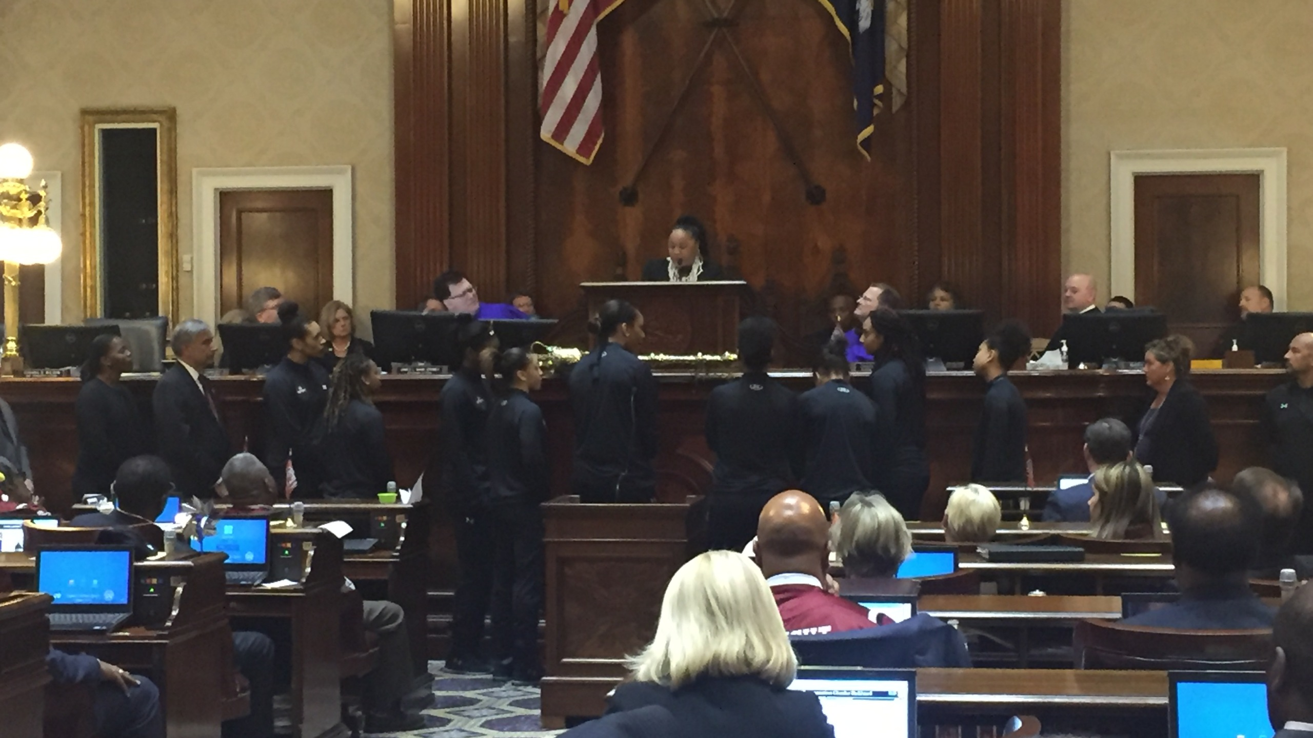 Dawn Staley address state lawmakers_335202