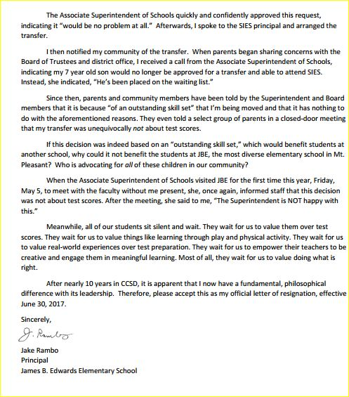Elementary Teacher Resignation Letter from www.counton2.com