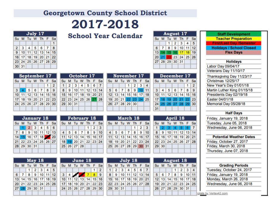 Academic Calendar Georgetown.Back 2 School Georgetown County School District