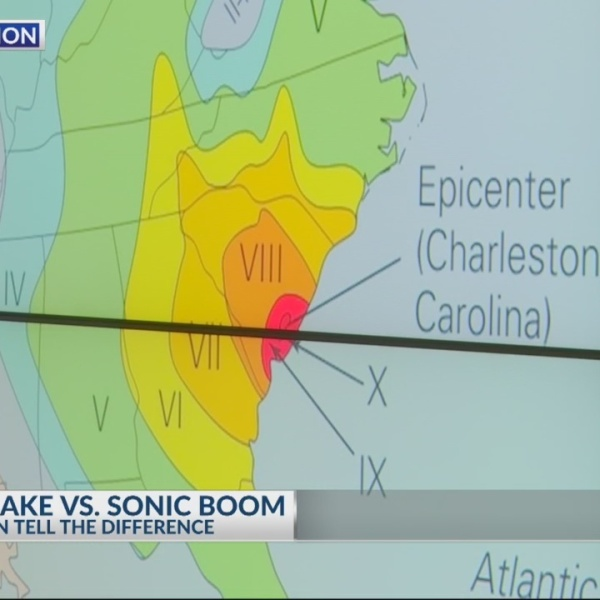 How can you tell the difference between a sonic boom and earthquake?