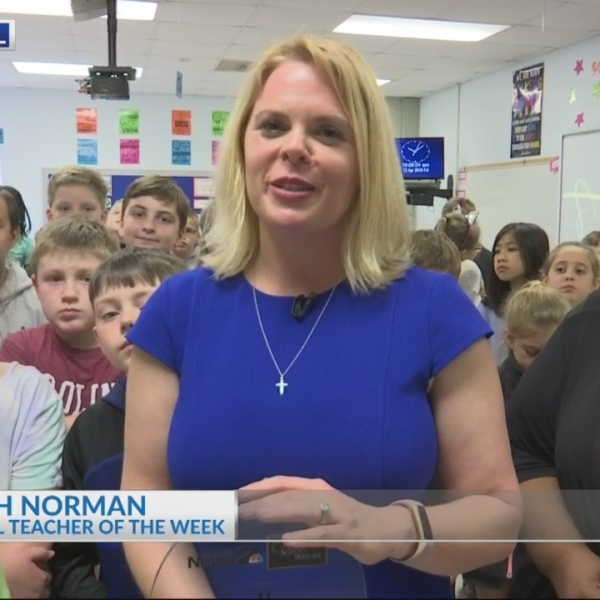 Beech Hill's Mrs. Elizabeth Norman receives the Cool School Teacher award