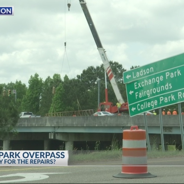Who will pay for the College Park Rd overpass repairs?