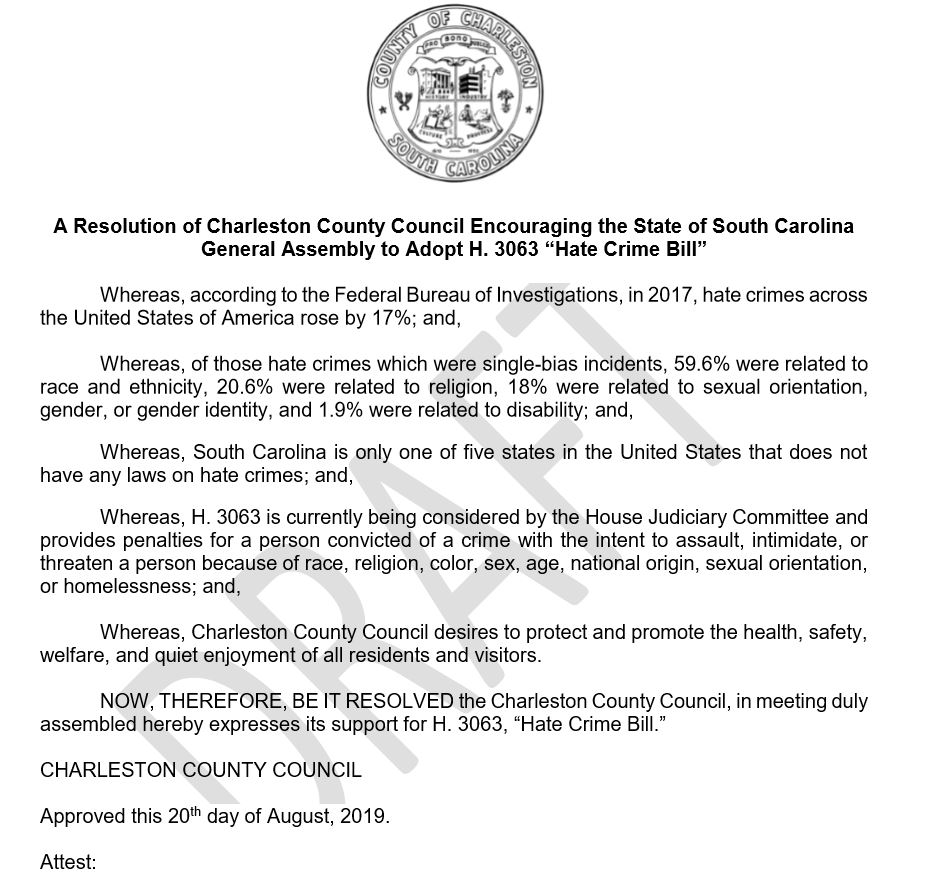Charleston County discusses hate crime bill resolution