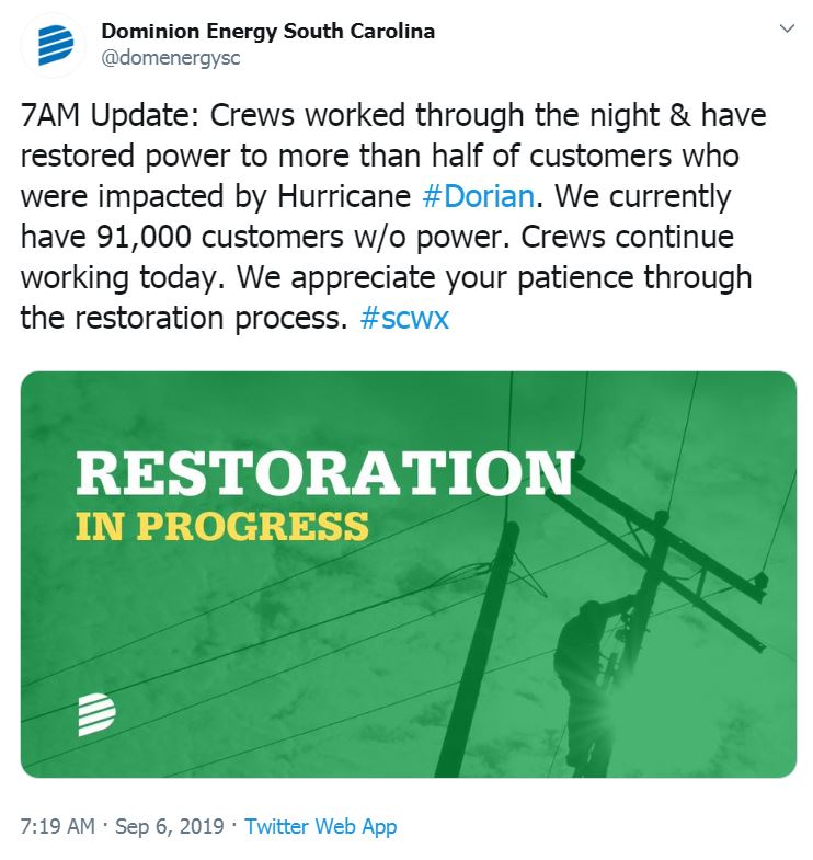 Dominion Energy working to restore power across the