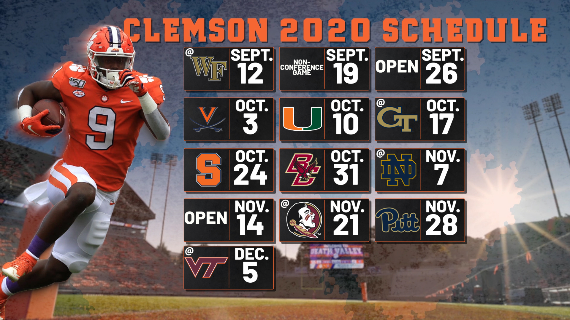 2020 Clemson football schedule released | WCBD News 2
